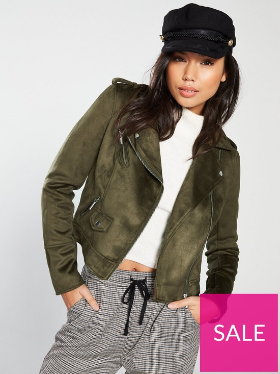 c912b05d88bf Oasis Faux Suede Biker - Khaki | very.co.uk