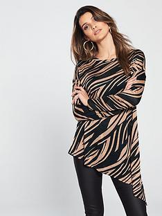 wallis-zebra-asymmetric-knitted-top-print