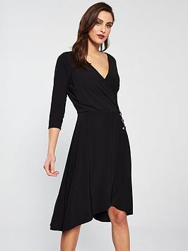 wallis-wrap-fit-and-flare-dress-black