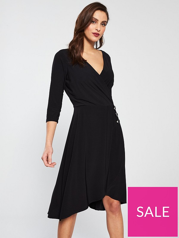 300fa716b9ab Wallis Wrap Fit And Flare Dress - Black | very.co.uk