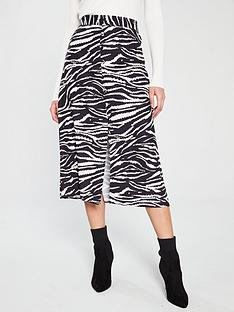 wallis-button-through-zebra-skirt-black-white