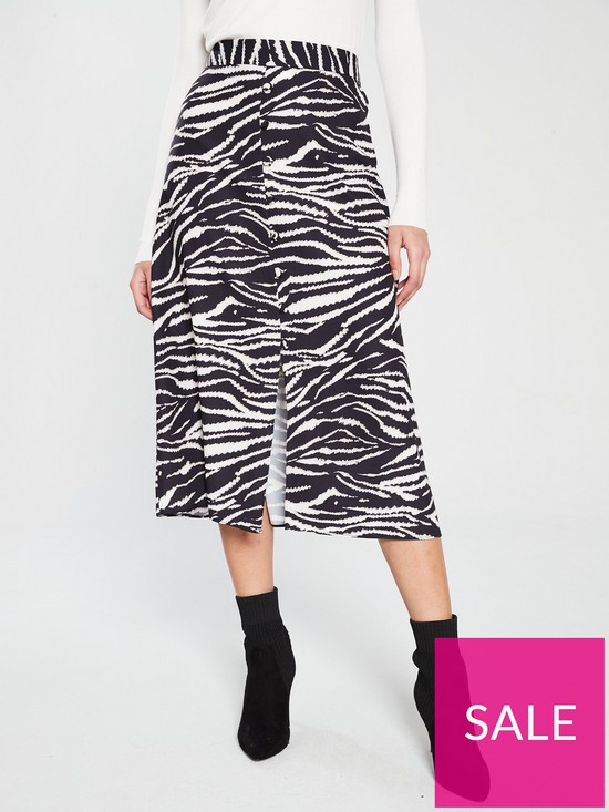 5866ffe80e Wallis Button Through Zebra Skirt - Black White | very.co.uk