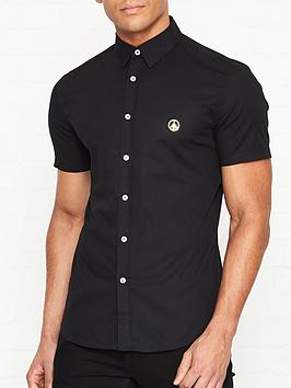 love-moschino-gold-peace-sign-short-sleeve-slim-fit-shirt-black