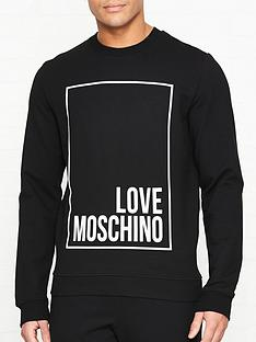 74fe11658f89f LOVE MOSCHINO Reflective Box Logo Print Sweatshirt - Black