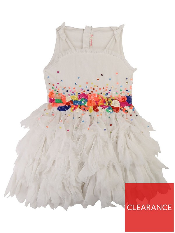 recognized brands get cheap stable quality Girls Sequin Embroidered Mesh Dress - Ivory