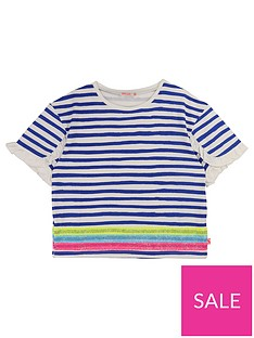 6470e258bc8ab6 Billieblush Girls Short Sleeve Stripe Sequin T-Shirt - Blue