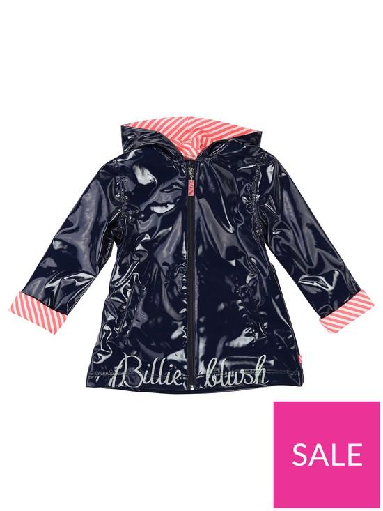 4f49ff4689 Billieblush Girls Logo Hooded Raincoat - Navy | very.co.uk