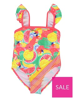 2bc54ffca86439 Billieblush Girls Ruffle Shoulder Printed Swimsuit - Multi