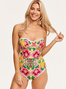 3ce4cf57ffefe Figleaves Frida Underwired Bandeau Swimsuit - Yellow Floral | very.co.uk