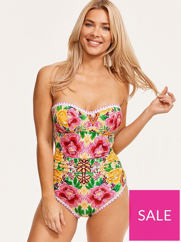 c1dd5bdae10 Figleaves Frida Underwired Bandeau Swimsuit - Yellow Floral | very.co.uk