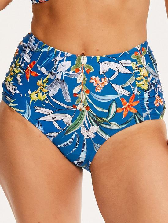 cac0c6e95e895 Figleaves Botanical Gardens High Waist Tummy Control Bikini Brief - Blue