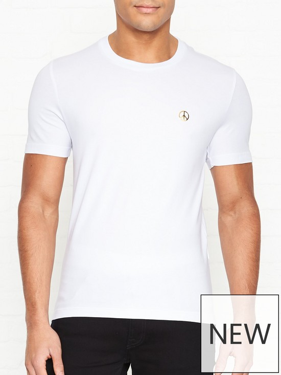 65b66f6a LOVE MOSCHINO Gold Peace Sign Slim Fit T-shirt - White | very.co.uk