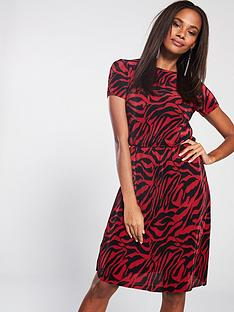 V by Very Zebra Plissé Dress - Red 356c17886