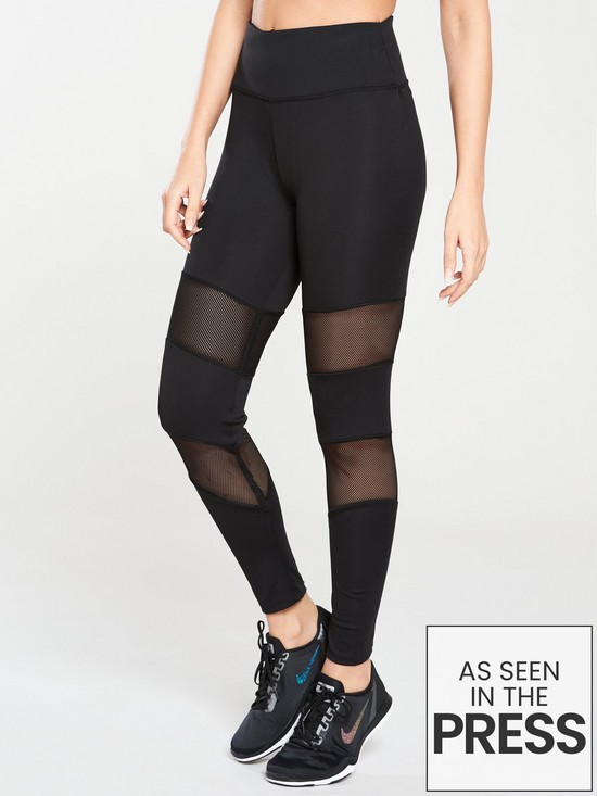 3a1e1f3e8f1e88 Michelle Keegan Mesh Panel Gym Leggings - Black | very.co.uk