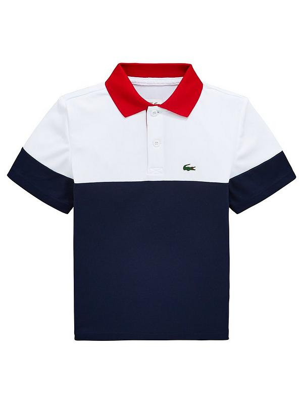 68c897a6 Lacoste Sports Boys Short Sleeve Colourblock Polo Shirt - White/Navy ...