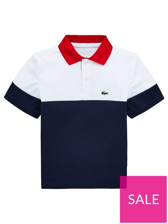 Sleeve Whitenavy Shirt Polo Boys Short Colourblock 2H9DIE