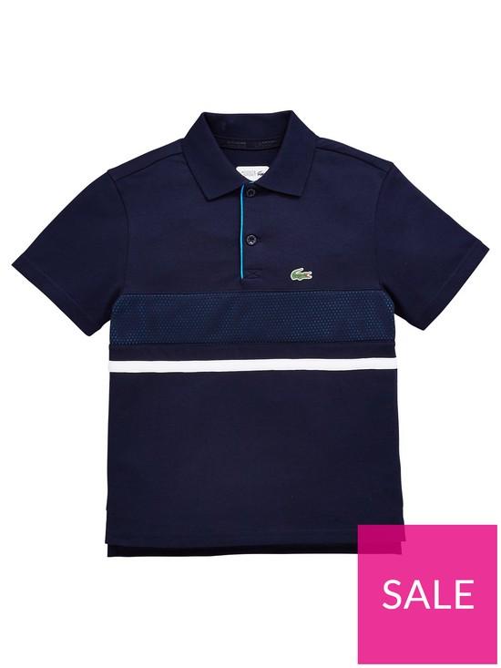50598afa2 Lacoste Sports Boys Short Sleeve Stripe Polo Shirt - Navy | very.co.uk
