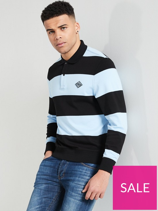 d219264f LACOSTE LIVE Stripe Rugby Shirt | very.co.uk