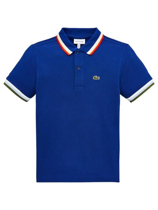 18c85a435 Lacoste Boys Short Sleeve Tipped Pique Polo Shirt - Blue | very.co.uk
