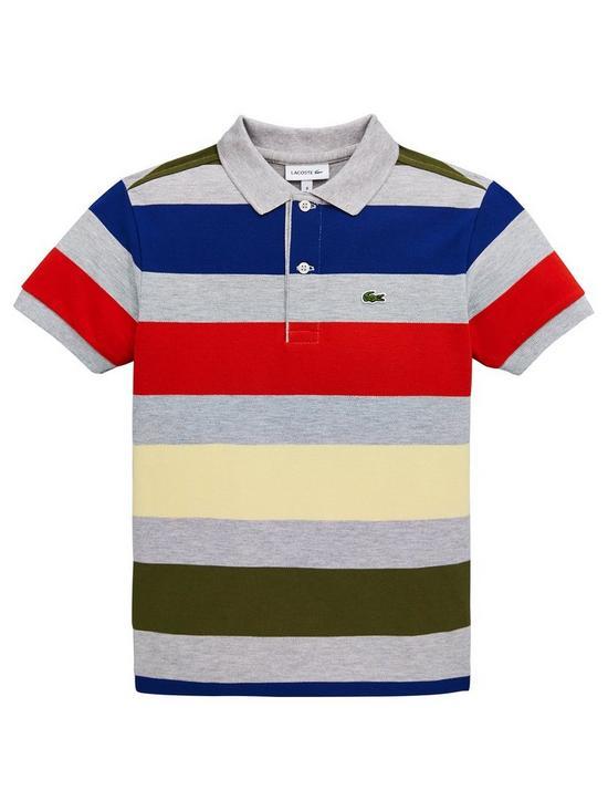 9d41f112 Lacoste Boys Short Sleeve Bold Stripe Pique Polo Shirt - Grey Multi ...