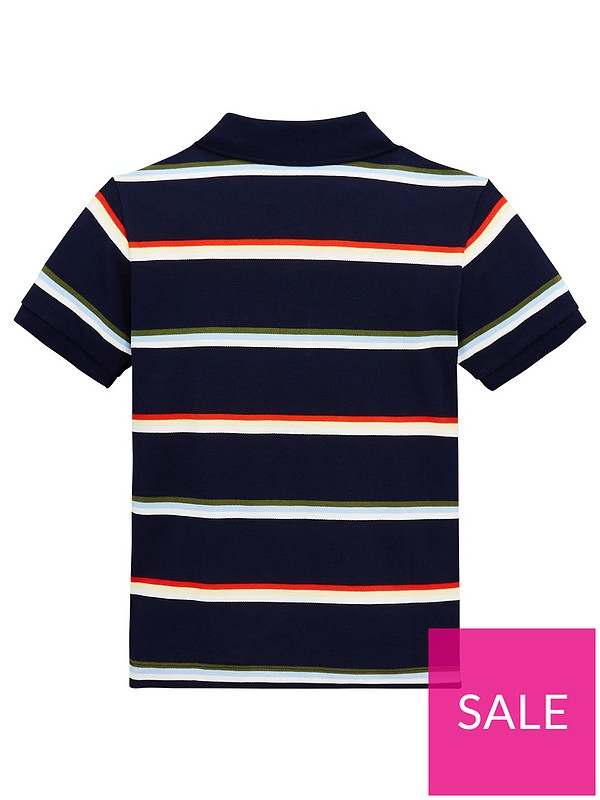 09a330d7db Lacoste Boys Short Sleeve Stripe Pique Polo Shirt - Navy/Multi ...