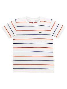 ffd14175908a Lacoste Boys Short Sleeve Striped T-Shirt - Off White