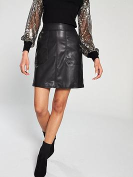 warehouse-faux-leather-a-line-skirt-black