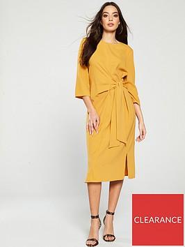 warehouse-twist-knot-dress-mustard
