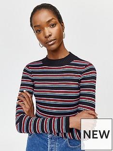 warehouse-rainbow-stripe-rib-jumper