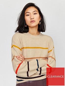 warehouse-cosy-fine-stripe-jumper-multi