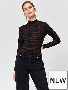 warehouse-zebra-print-jersey-polo-top