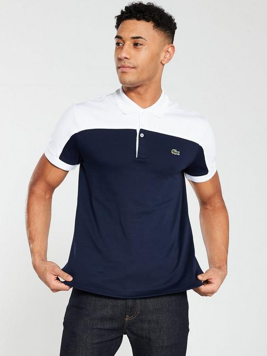 a54f2400 Lacoste Sportswear Colour Block Polo Shirt - Navy/White | very.co.uk