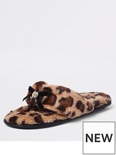 river-island-river-island-faux-fur-flip-flop-slippers-leopard