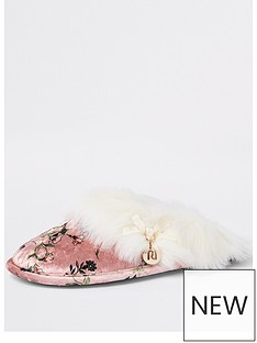 river-island-printed-faux-fur-slippers-pink