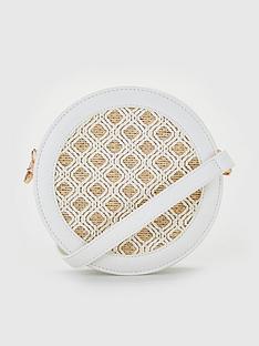 ac5fe0e0e1ddde V by Very Piza Round Crossbody Bag With Raffia Insert