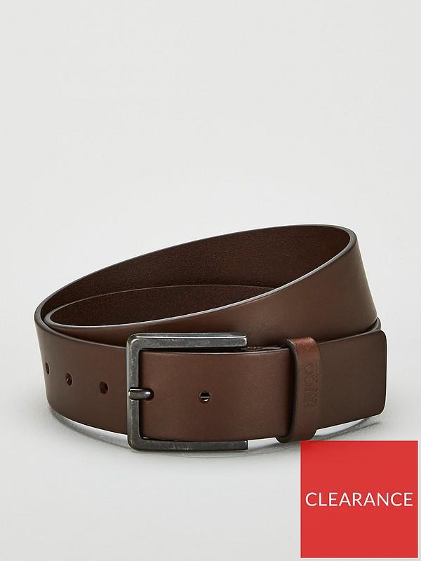 Mens dark brown smooth leather belt