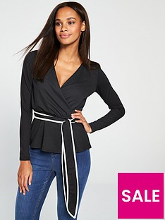 v-by-very-tipping-tie-waist-top-monochrome