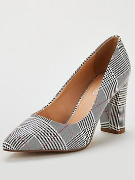 wallis-cinder-checkered-block-heeled-court-shoes-grey