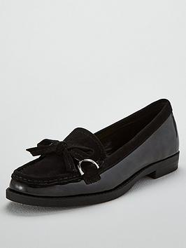 wallis-blair-buckle-bow-flat-loafers-black