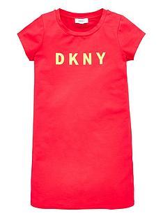 dkny-girls-short-sleeve-logo-t-shirt-dress-raspberry