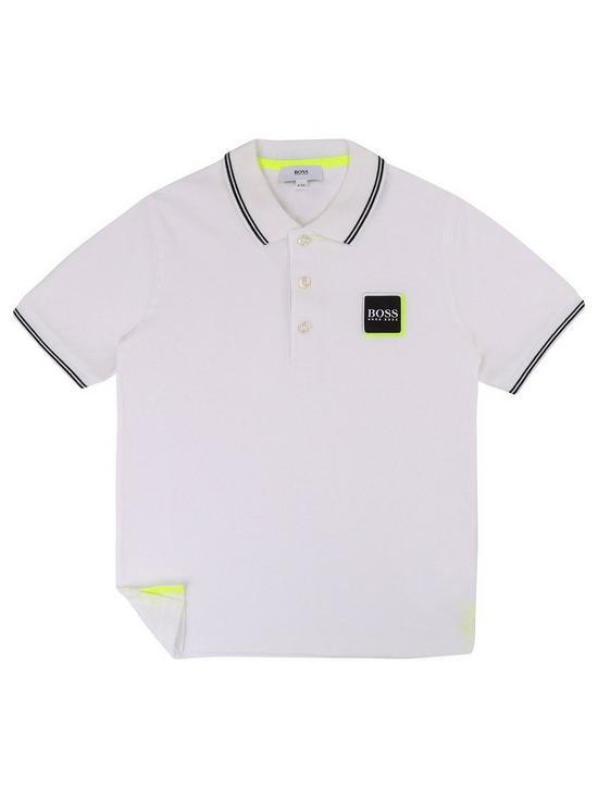 34c30a64 BOSS Boys Classic Short Sleeve Pique Polo Shirt - White | very.co.uk
