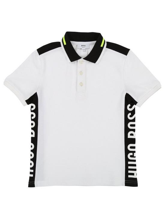 a75061f3 BOSS Boys Short Sleeve Side Panel Pique Polo Shirt - White | very.co.uk