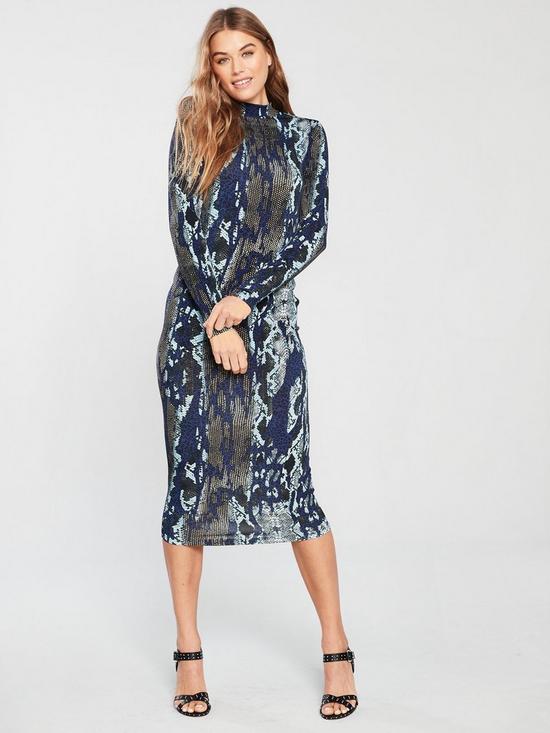 50962a79f7 V by Very Snake Printed Midi Dress | very.co.uk