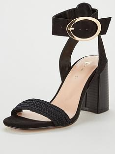 d48ce7da73a V by Very Gigi Buckled Ankle Strap Heeled Sandal - Black