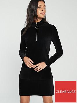 v-by-very-cord-high-neck-zipper-mini-dress-black