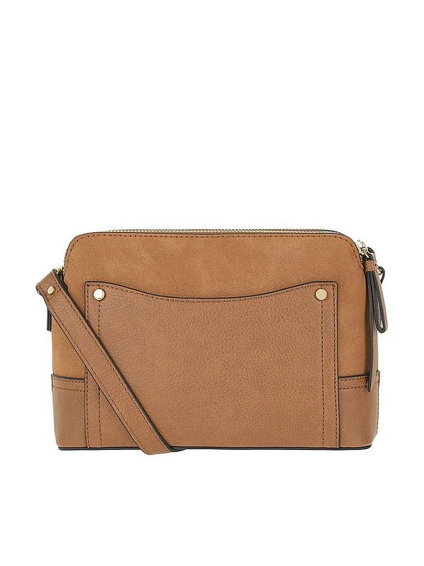 Accessorize Darcy Double Zip Crossbody Bag - Tan