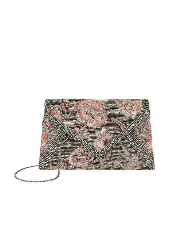 ce9bb2ba5 Leila Embroidered Envelope Clutch Bag - Pewter