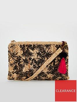 v-by-very-kiki-palm-print-weave-clutch-natural