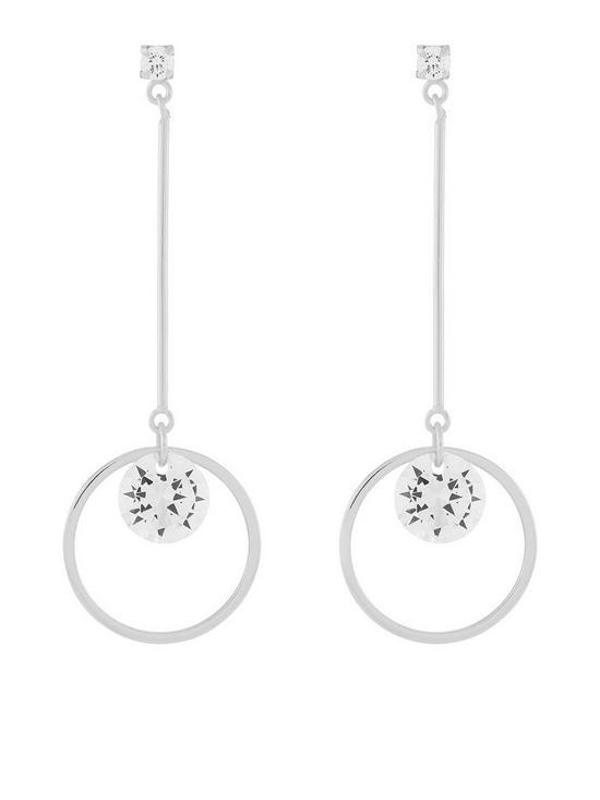 33e544427 Accessorize Sterling Silver Long Geo Crystal Earrings | very.co.uk