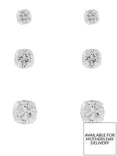 accessorize-sterling-silver-3x-plain-crystal-stud-set